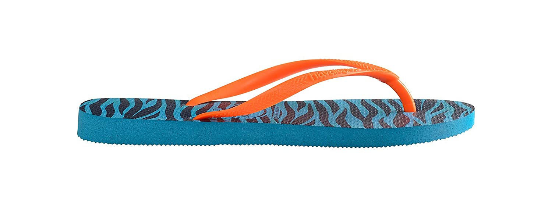 ead0e542396b HAVAIANAS Zebra Striped Flip-Flops Orange Straps - Slim Animals Capri Blue  (BR 39-40 UK 6-7 EU 41-42)  Amazon.co.uk  Shoes   Bags