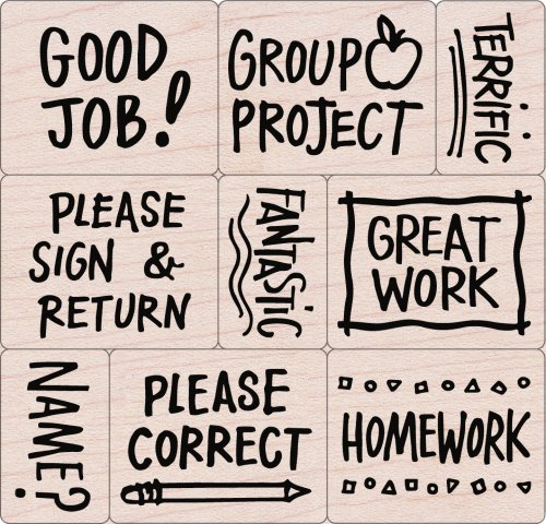 Hero Arts LL251 Mounted Rubber Stamps, Woodblock Stamps Set - Notes From the Teacher