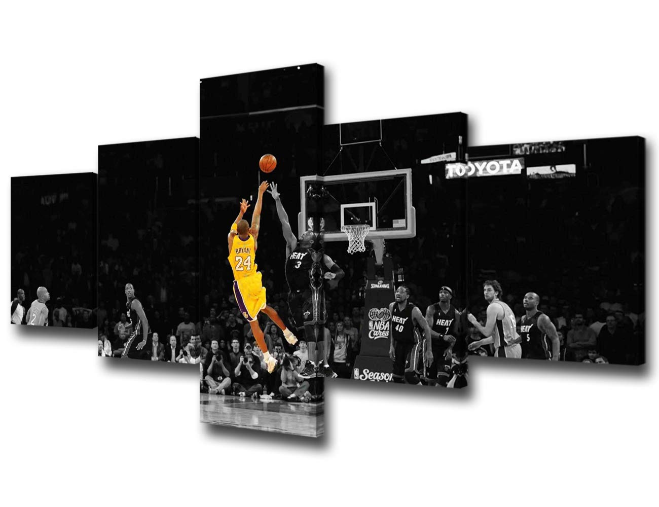 "Black and Yellow Background NBA Match Wall Art Painting Basketball Player Kobe Bryant of Lakers at Staples Center in Los Angeles Pictures Print On Canvas for Home Decoration Ready to Hang -50""W x 24""H"