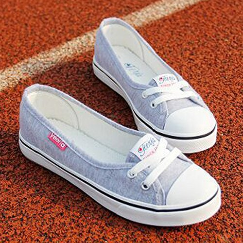 Plano Minetom Punta Chicas Mujer gris Zapatos Moda Ocio Lona Tacón Zapatos Redonda Espadrilles x8r1xwq