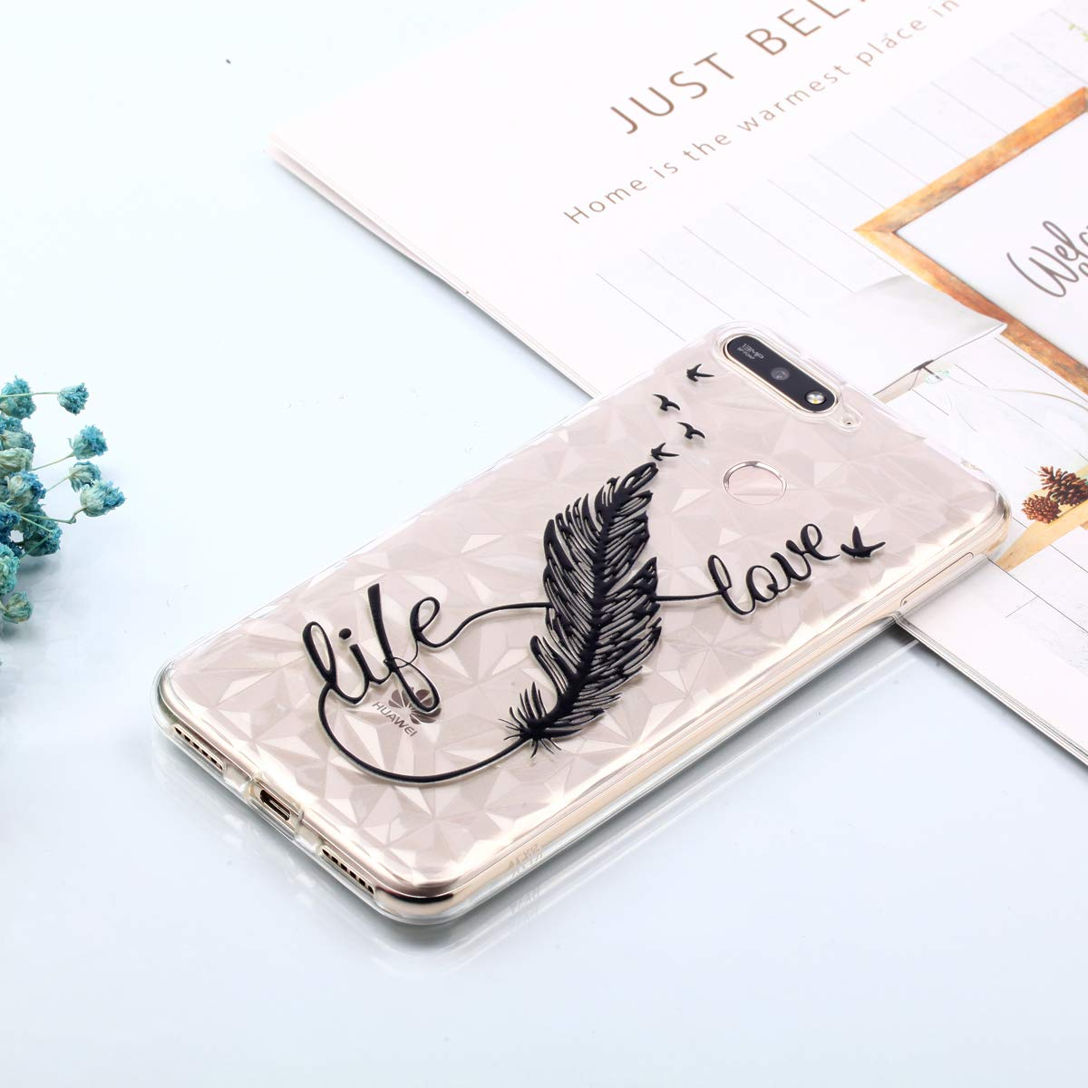 Huawei Y6 2018 Soft TPU Silicone Case,WIWJ Embossed Varnish Painted Diamond Pattern Shockproof Phone Case Slim Thin Fit for Huawei Y6 2018-Pineapple
