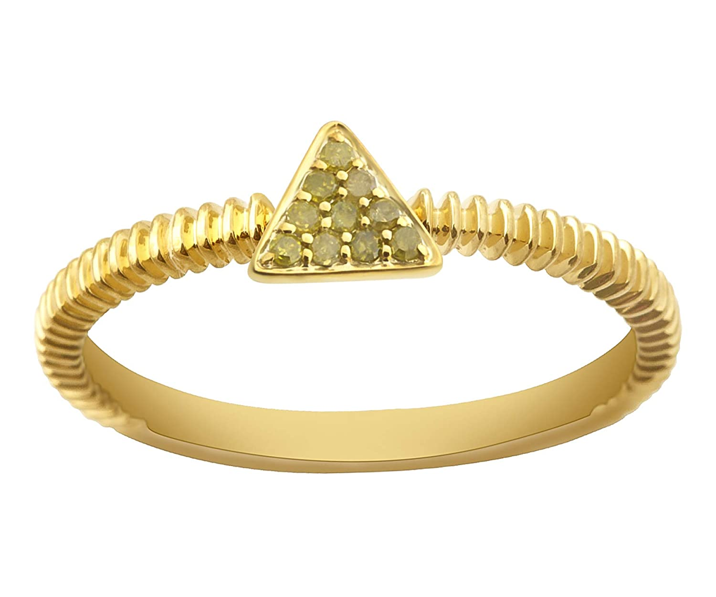 10k Gold Fancy Ring Yellow Diamond Ring Goldenstar 0.07Ct