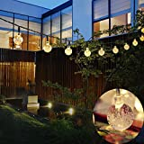 Outdoor Solar String Light Garland 30LED Fairy String Lights Bubble Crystal Ball Lights Decorative Lighting for Indoor Garden Home Patio Lawn Party Holiday Decor(20FT warm white)