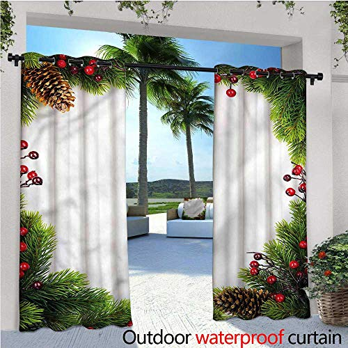 warmfamily Christmas Outdoor- Free Standing Outdoor Privacy Curtain Xmas Frame Pine Cones for Front Porch Covered Patio Gazebo Dock Beach Home W72 x ()