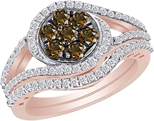 Wishrocks Round Cut Brown Cubic Zirconia Cluster Ring in 14K White Gold Over Sterling Silver