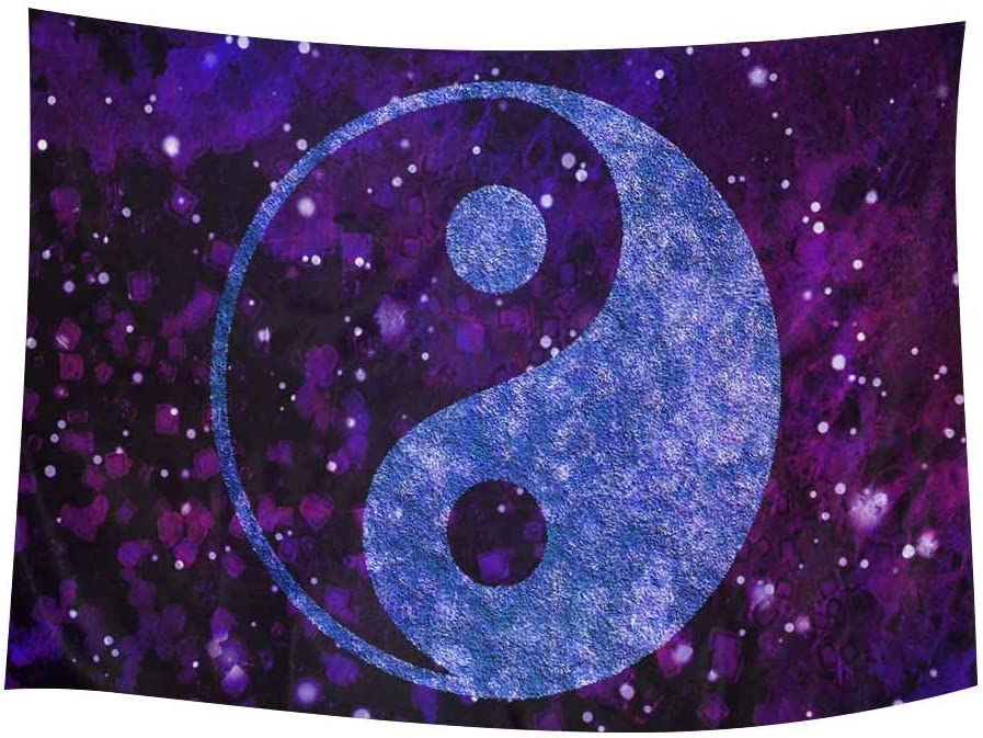 INTERESTPRINT Boho Yin Yang Chinese Peace Zen Bohemian Galaxy Outer Space Tapestries Home Decor, Cotton Linen Tapestry Wall Hanging Decorative Tapestry, 60W X 40L Inch