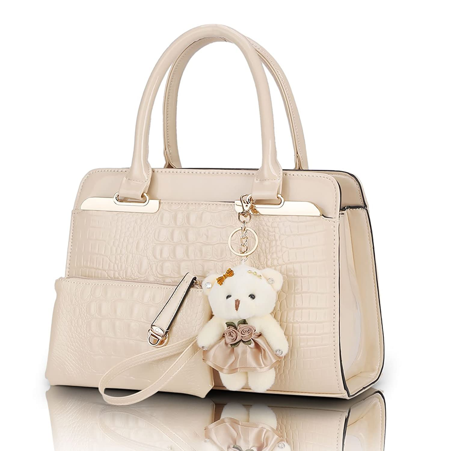 SUNNY SHOP 2 Bags/Set With Bear Toy Fashion Elegant Alligator Pattern Patent Leather Women Shoulder Bags