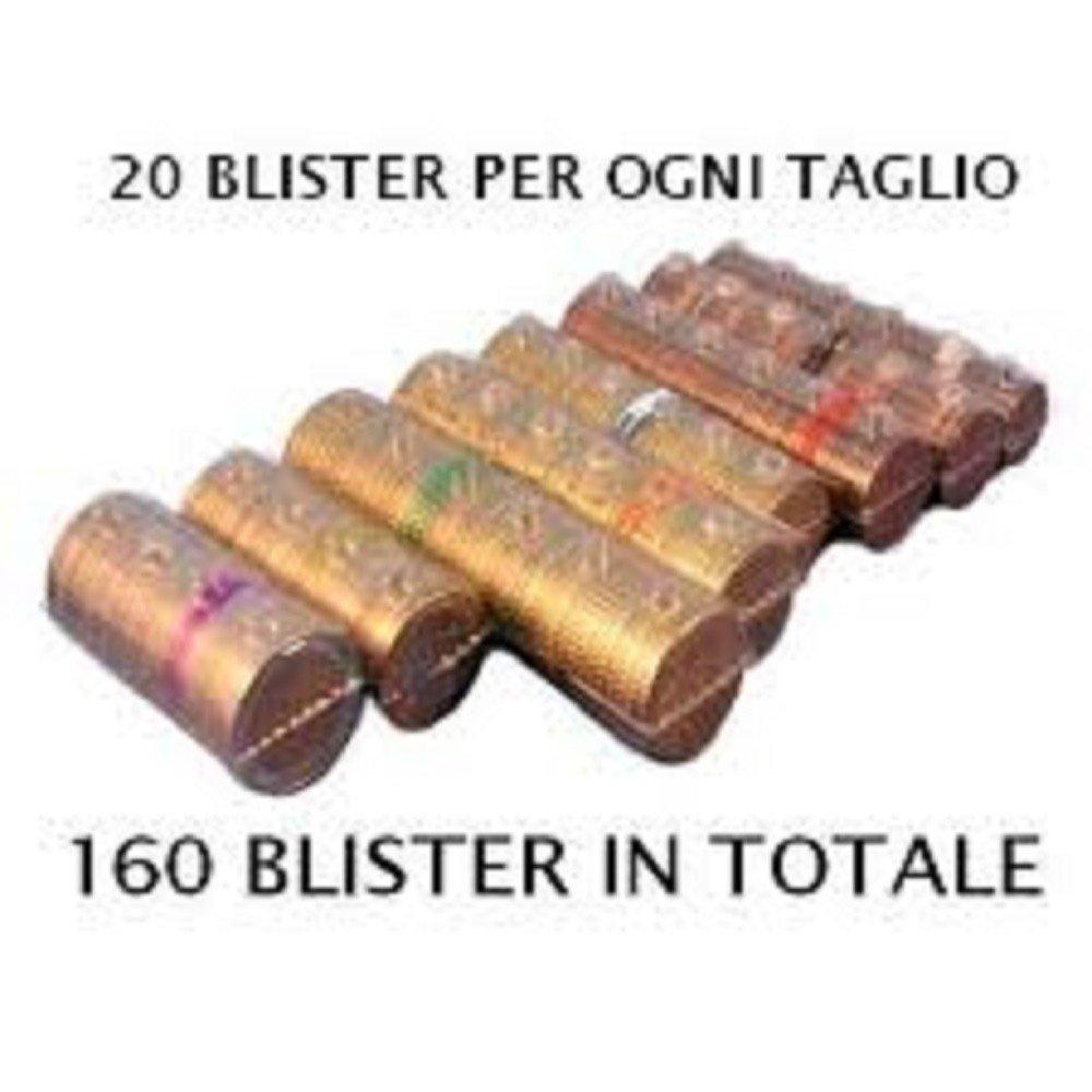 20 pezzi per taglio euro Kit 160 blister portamonete tagli assortiti Blister per monete euro