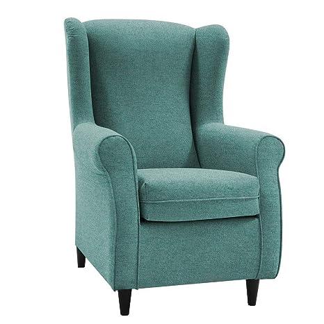 HOGAR TAPIZADO Butaca sillón orejero Nadia Color Turquesa 100 x 72 x 74 (