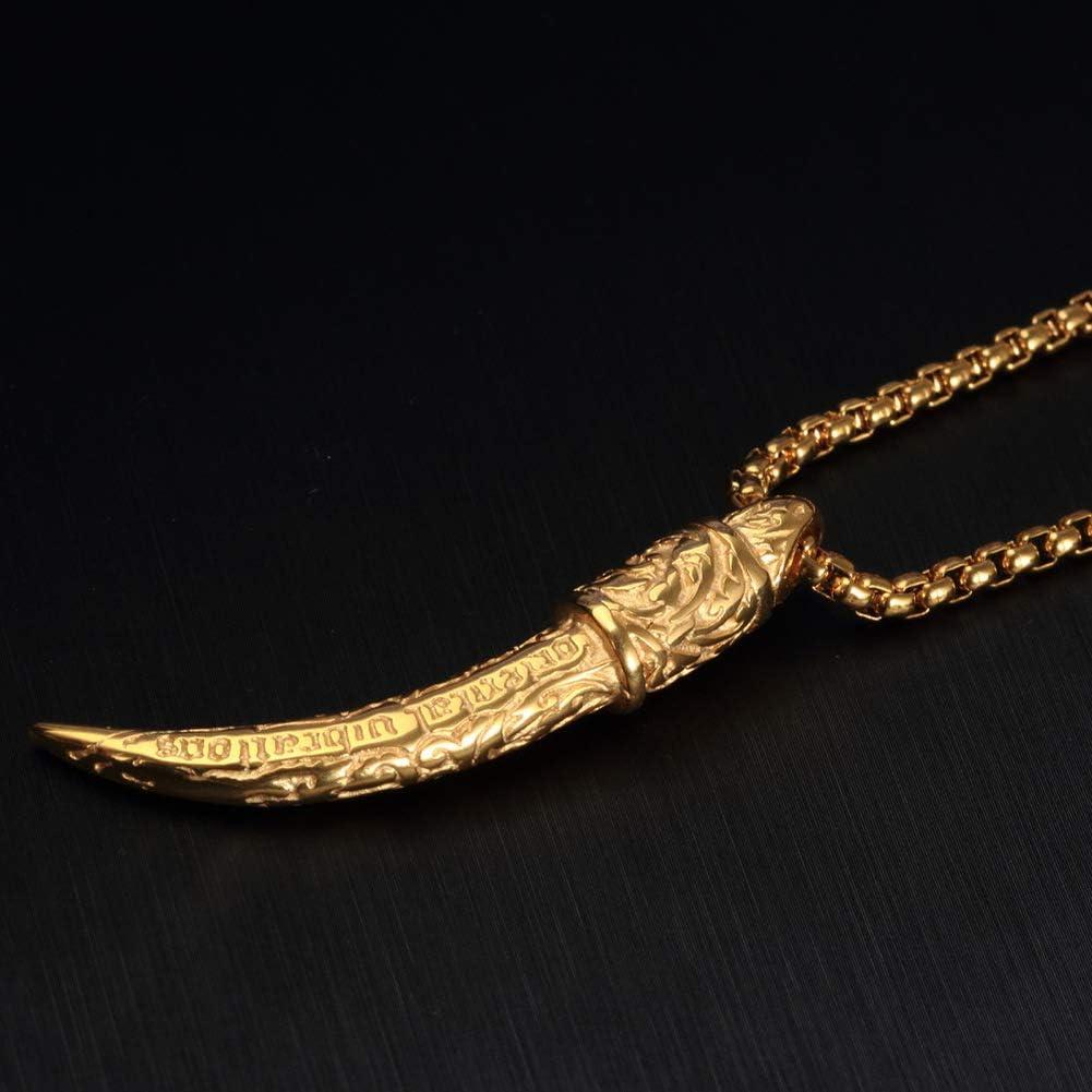 Wyanger Fashion Titanium Steel Necklace Vintage Hip Hop Punk Totem Pendant Necklace
