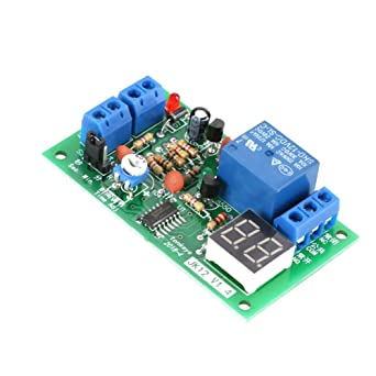 DC12V Pantalla LED Digital Temporizador de Retardo Interruptor de Temporizaci/ón Apagar M/ódulo de Rel/é 1-99s 1-99min Ajustable