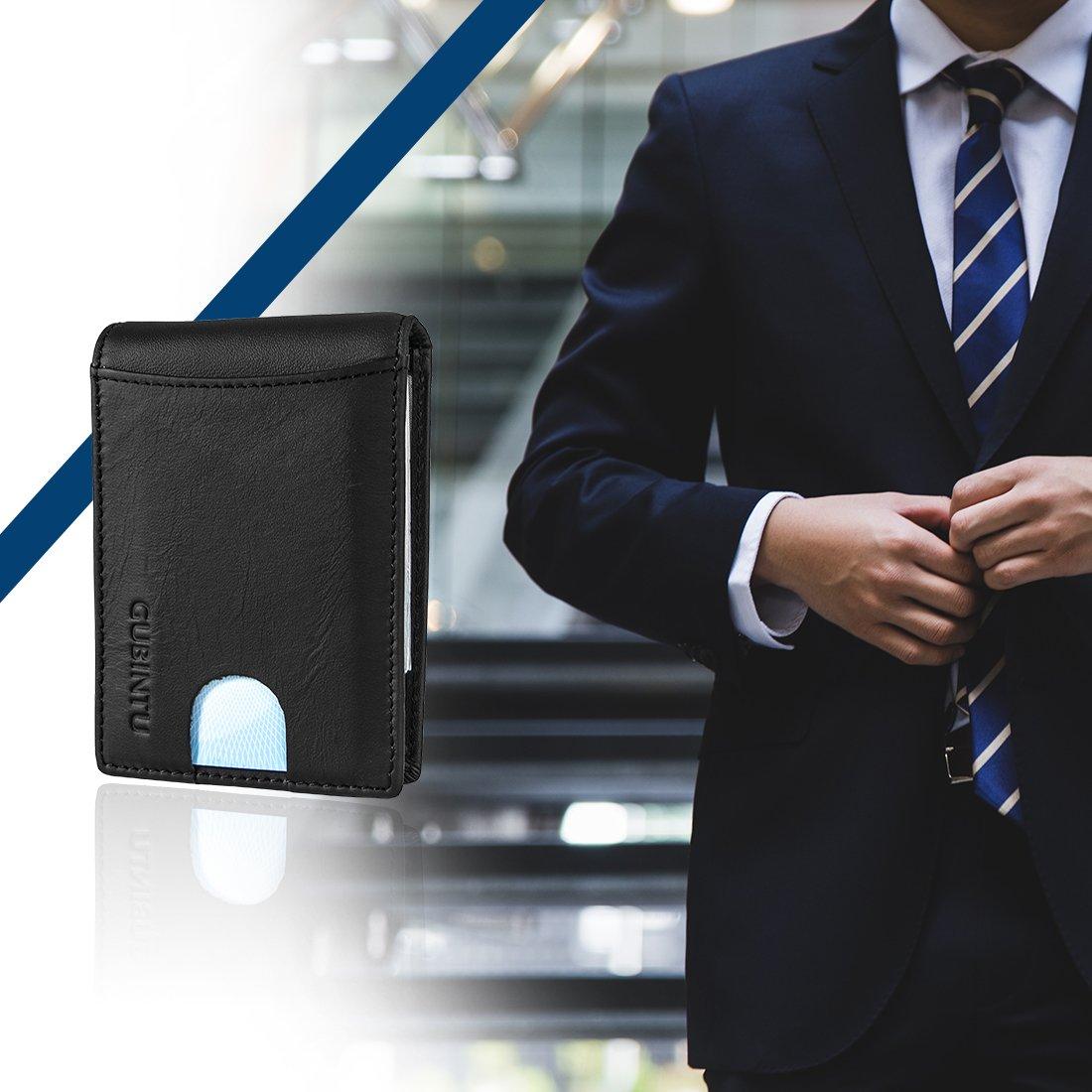 Mens Slim Front Pocket Minimalist RFID Blocking Leather Wallet Card Holder