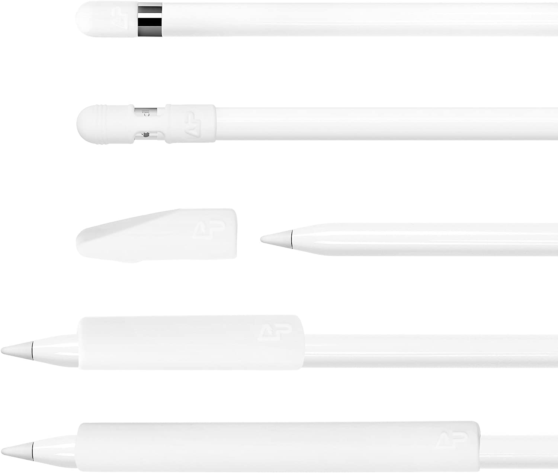 5 pcs Premium Silicone Pencil Full Protection Tip Cover Cap Holder Set for Apple Pencil (White)