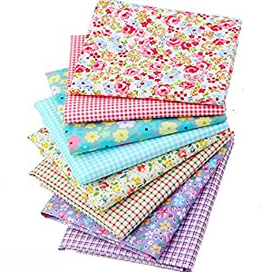 Quilting Cotton Floral Print Fabric Star Patchwork Fabric Fat Quarter Bundles Fabric For Baby Clothes Bedding Purse Pillowcase 40X50cm 8pcs/lot (As Picture Shown)