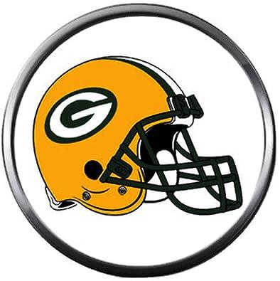 c1d784c460 Amazon.com  NFL Helmet on White Green Bay Packers Football Fan Team Spirit  18MM - 20MM Fashion Snap Charm  Jewelry