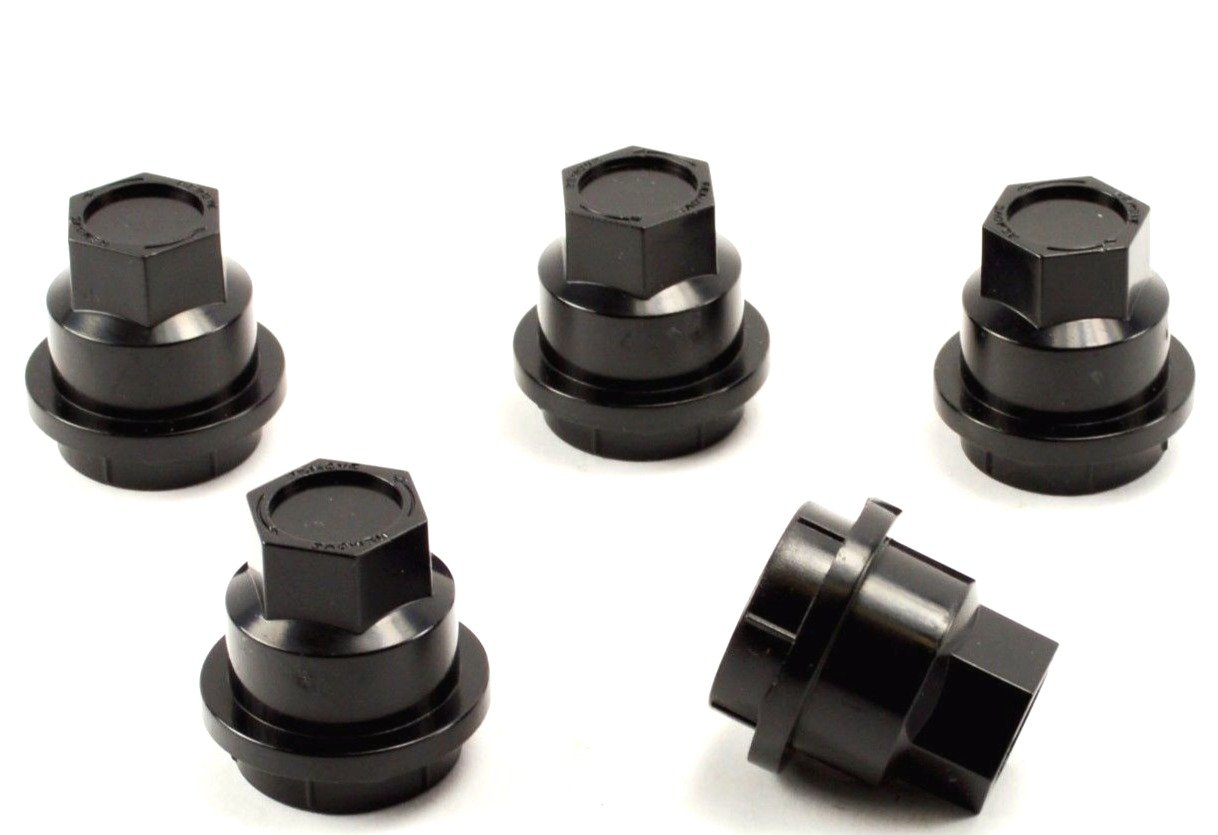 BB Auto Set of 5 Black Wheel Center Cap Screw on Lug Nut Covers Caps New For Chevrolet S10 Blazer GMC Jimmy Sonoma