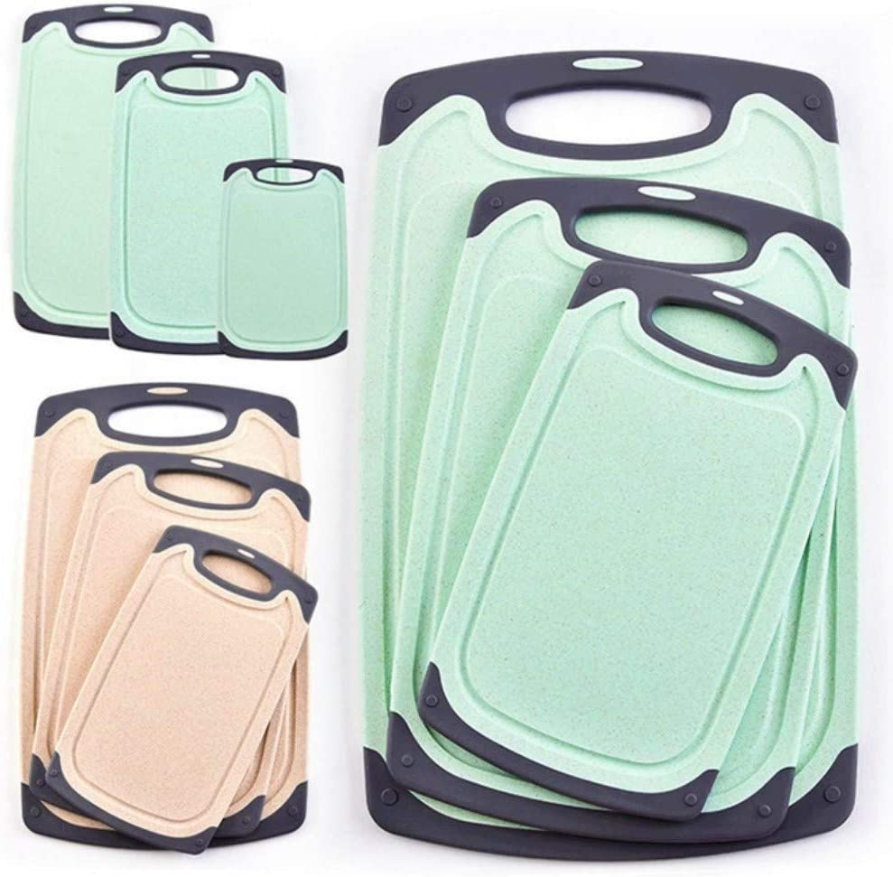 FLYINGSEA Cutting Boards For Kitchen, Anti-Skid Eco-Wheat Straw Vegetable Board Set (3 Pcs), Dishwasher Safe (Light green)