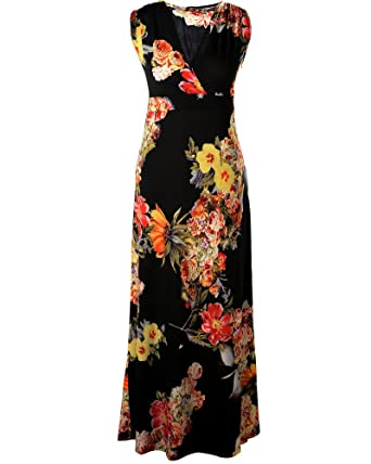 bd1b21af62a Aofur Womens Evening Cocktail Party Holiday Long Dress Ladies Summer Floral  Maxi Dress Size 8-24  Amazon.co.uk  Clothing