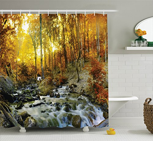 Falling Leaves Picture (Ambesonne Lake House Decor Collection, Autumn Time River Creek Forest Falling Leaves Rocks Trees Foliage Sunbeams Branches, Polyester Fabric Bathroom Shower Curtain, 75 Inches Long, Multi)