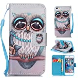 OTTER MK for iPhone 5 5S SE Wallet Case PU Leather Owl Wallet Case Flip Folio Kickstand Card Holder Cover with Strap Case for iPhone 5/5s/se 4""