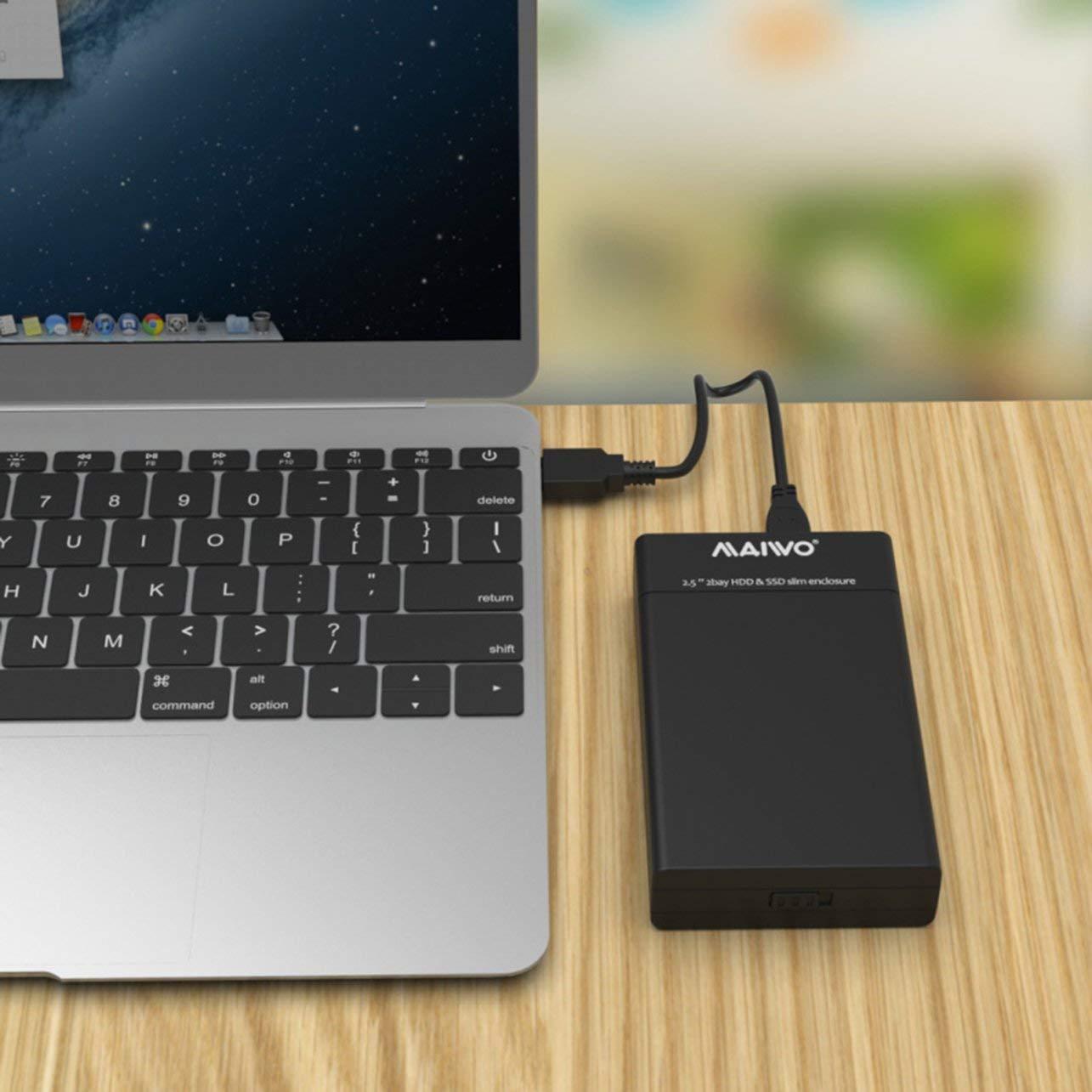 K25682 Doble bahía de Disco Duro SSD Delgado del recinto USB3.0 ...