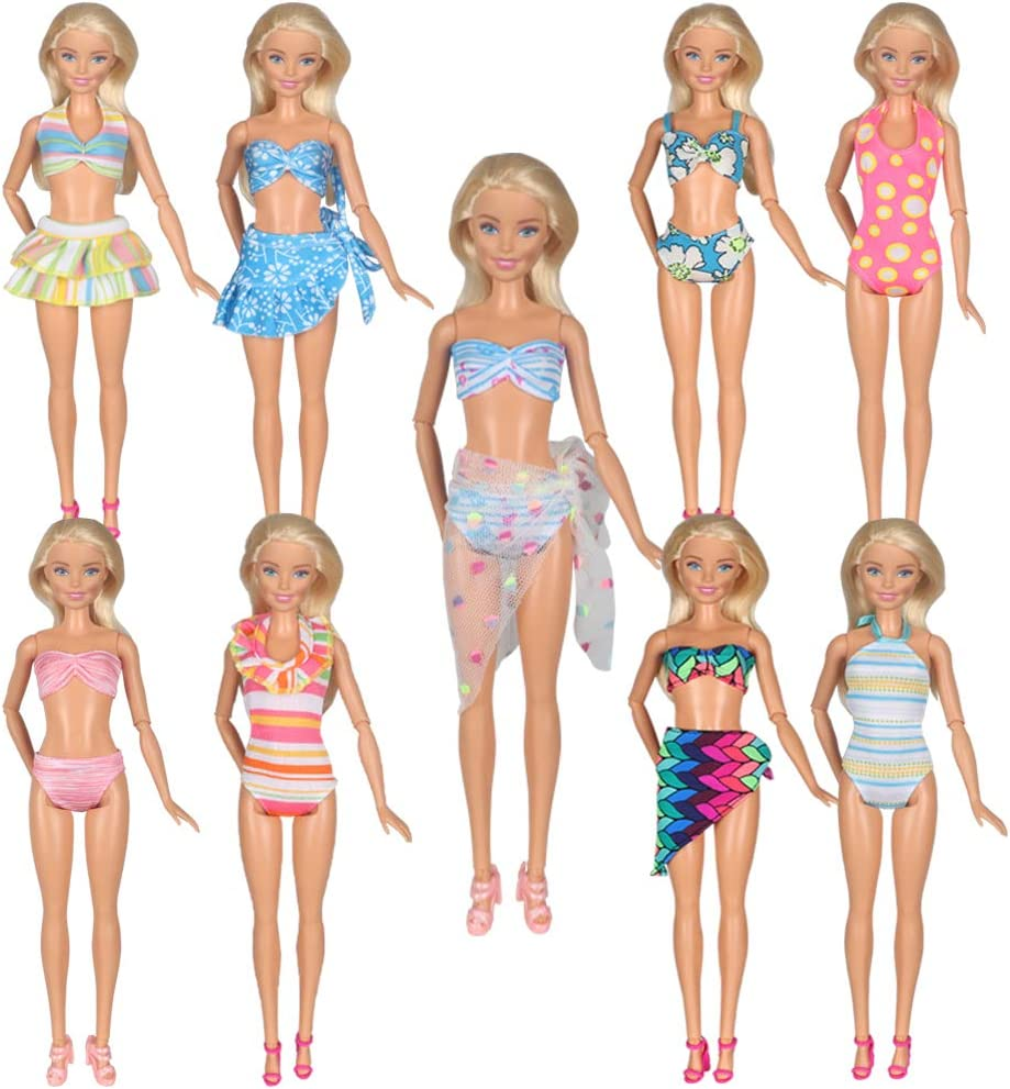 Amazon.com: Tanosy 5 Sets Doll Swimsuits Bathing Suits Beach Bikini Clothes  for 11.5