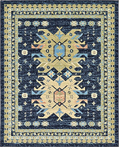 Classic Traditional Geometric Persian Design Area rugs Navy Blue 8' x 10' Qashqai Heriz rug