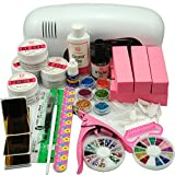 Coscelia UV Gel Nail With 9W White Lamp Dryer Light Nail Art Manicure Tips 6 Blocks Set