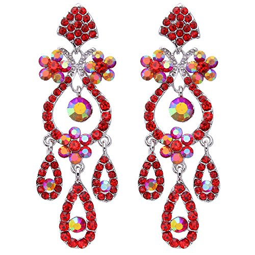 EVER FAITH Bridal Silver-Tone Flower Vase Chandelier Pierced Dangle Earrings Austrian Crystal Red