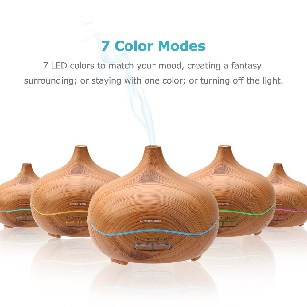 Ominihome Essential Oil Diffuser 300ml Cool Mist Humidifier Ultrasonic Aroma Diffuser, Waterless Auto Off, Wood Grain, Brightness Adujstable, College Graduation Gift