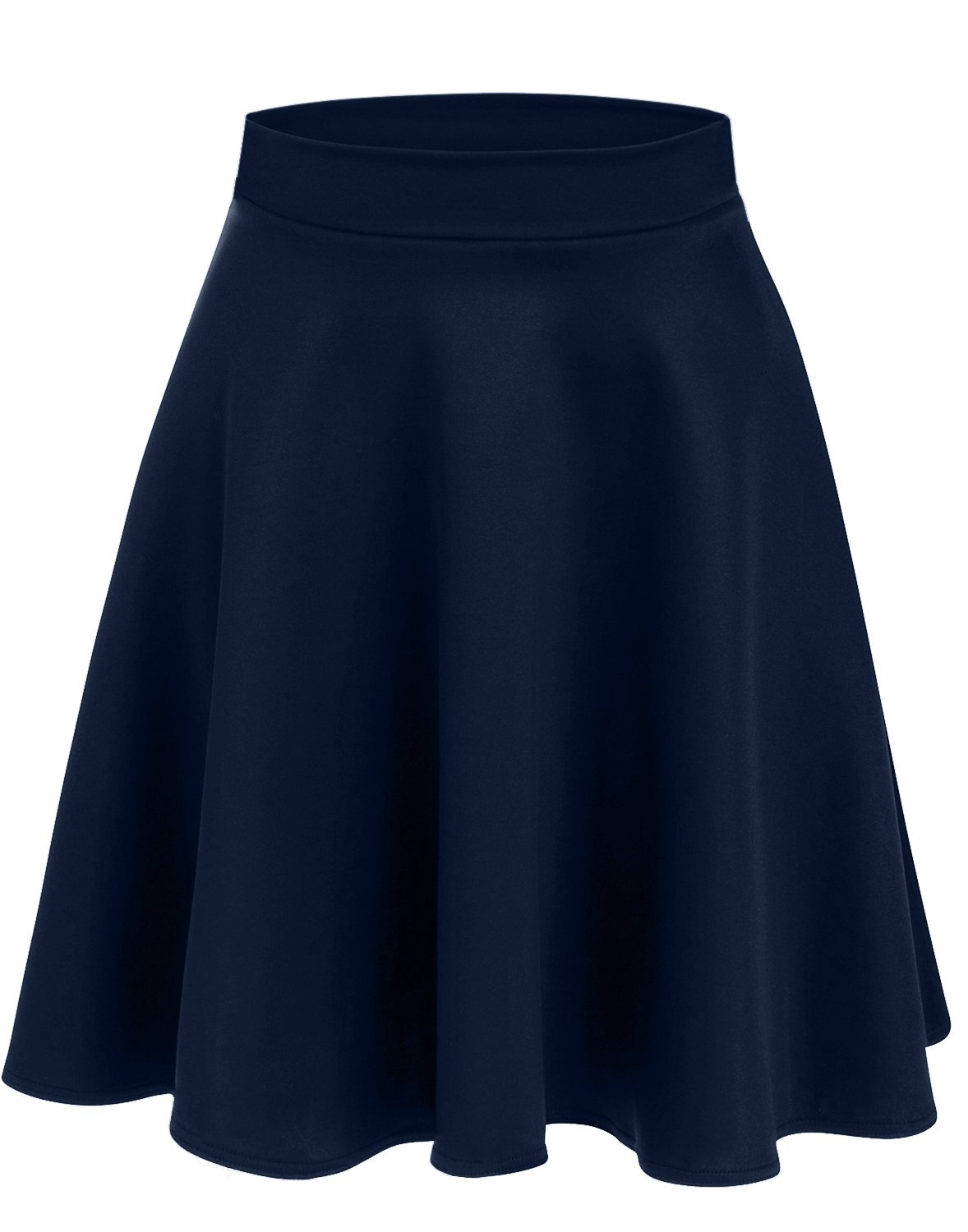 Women's Midi Skater Skirt Flared Stretch Skirt for Women - Made in USA Navy Small