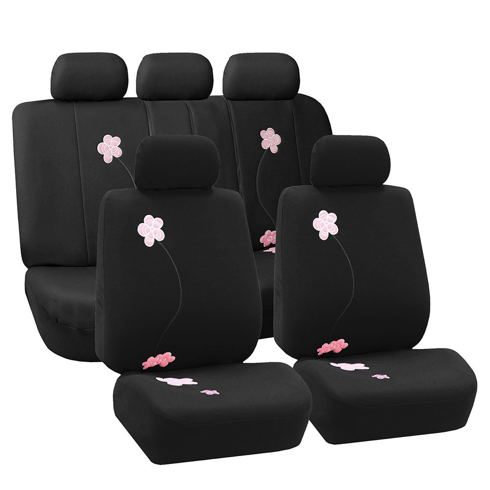 FH Group Universal Fit Full Set Floral Embroidery Design Car Seat Cover, (Black) (FH-FB053115, Airbag compatible and Split Bench, Fit Most Car, Truck, Suv, or Van) FB053BLACK115