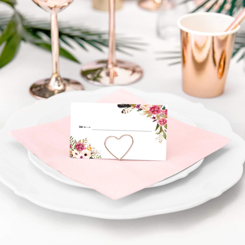 Set 50 Tischkartenhalter Dreieck /& 50 Namensk/ärtchen Tischk/ärtchen 8,5cm x 5,5cm Gold zum Beschriften Hochzeit Geburtstag Boho