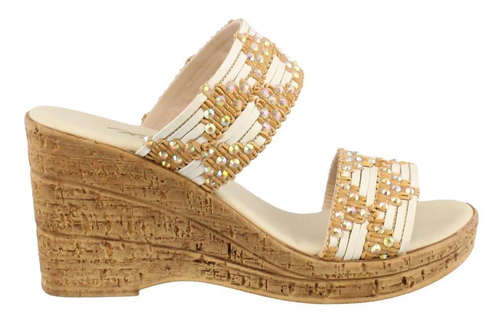 Onex Women's, Mahalo High Heel Wedge Sandals B078WFYDSG 6 B(M) US|Natural/White