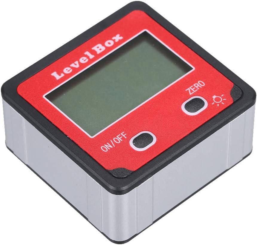 90 /° Rango de medici/ón Nivel Caja Calibre de /ángulo Aleaci/ón de aluminio Shell Transportador electr/ónico con luz de fondo 4 Inclin/ómetro digital,Baugger