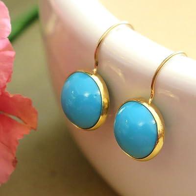 Natural Turquoise Drop Earrings 14k Solid Gold Dangle Earrings