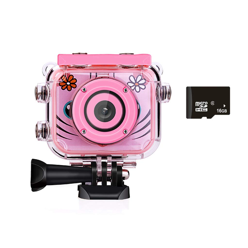 Qvwanle Kids Waterproof Camera Video Digital 1080 HD Screen Toys Gifts Build-in SD Card Children's Sports Camera (Pink) by Qvwanle