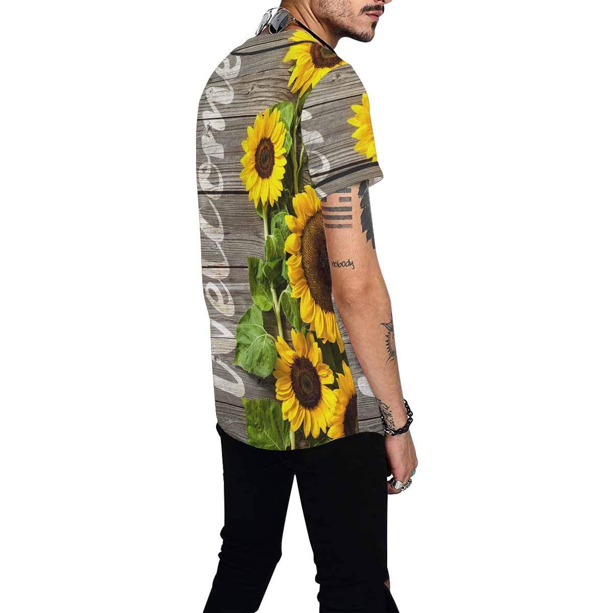 INTERESTPRINT Mens Fashion Baseball Jersey T-Shirt Autumn Sunflowers Wood Pattern