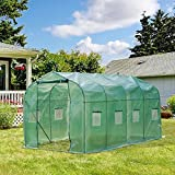 Outdoor Greenhouse10'x7'x7' ,4HOMART Walk-in Greenhouse With PE Cover,Strong Metal Frame,6 Windows and 1 Door with Roll-Up Zipper Door Plant Garden Green House