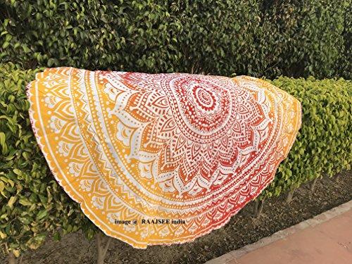 Orange Circles - raajsee Round Beach Tapestry hippie Orange/Boho Mandala Beach Blanket circle/Indian Cotton Bohemian Round Table cloth Mandala Decor/Yoga Mat Meditation Picnic Rugs 70 inch