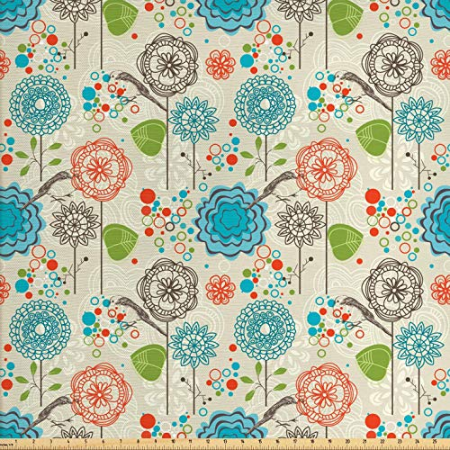 Ambesonne Floral Fabric by The Yard, Retro Doodle Flower Field Dandelions Daisy Birds Circles Cheerful Image, Decorative Fabric for Upholstery and Home Accents, 1 Yard, Cream Blue (Retro Upholstery Fabric)