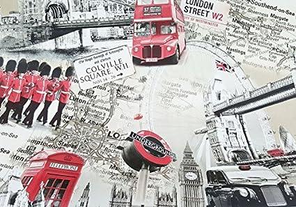 Toallita Limpiador Mantel hule PVC Vinilo Londres Ciudad Collage Autobús Rojo , Bigben 140/200