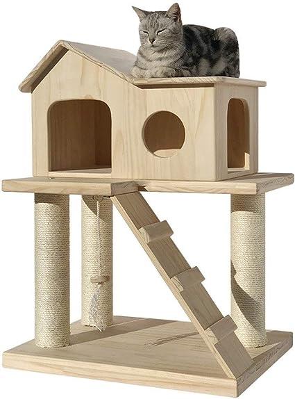 Llnn Cat Tree Modern Cat Tower For Indoor Cats Solid Wood Cat Climbing Frame Cat House Cat Ladder Cat Jumping Platform Sisal Cat Scratching Column Sports Outdoors