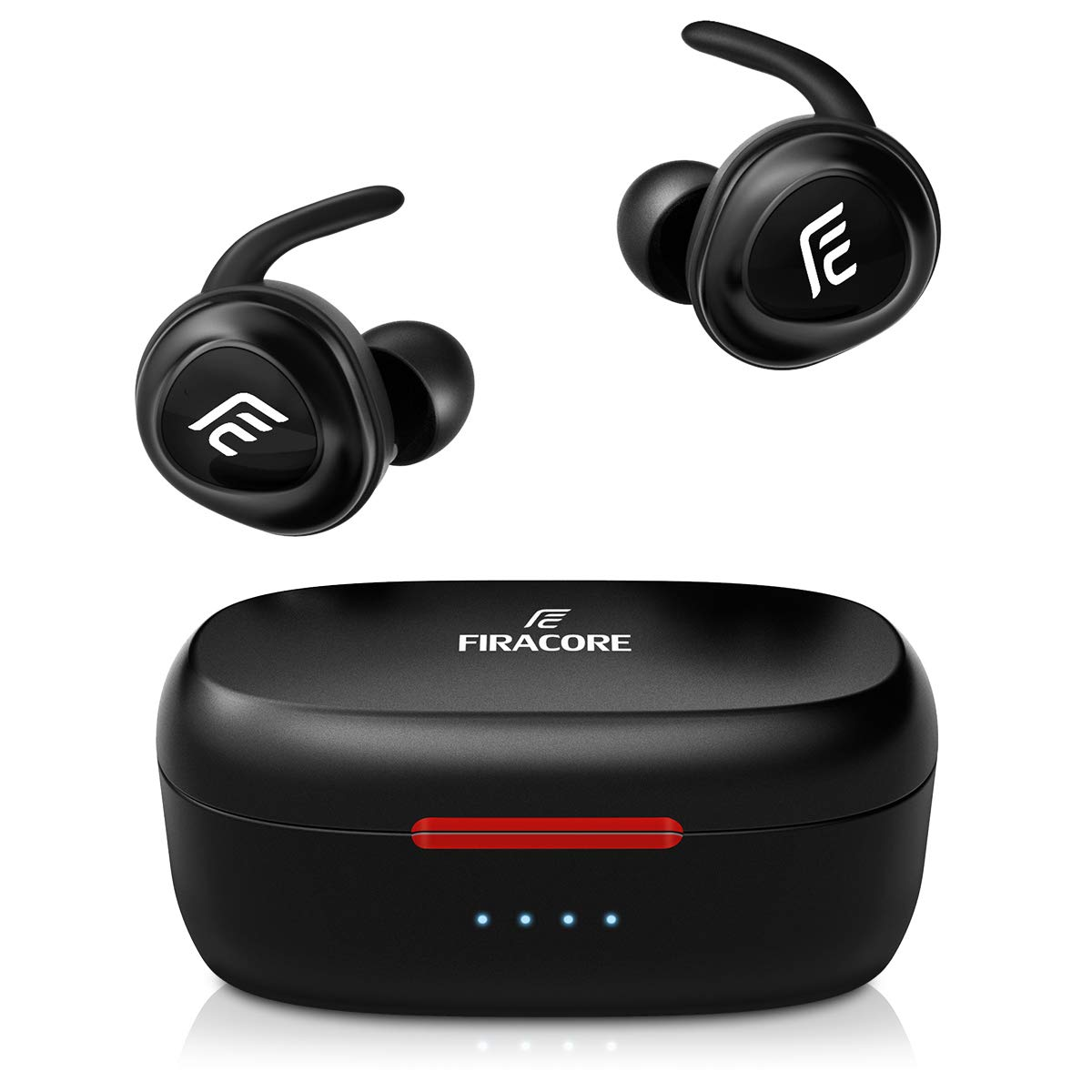 Bluetooth Headphones, FIRACORE 5.0 True Wireless Earbuds Deep Bass HiFi Stereo Sound Bluetooth Earphones 16H Playtime Mini in Ear Headset with Charging Case and Built in Mic for Sports Running