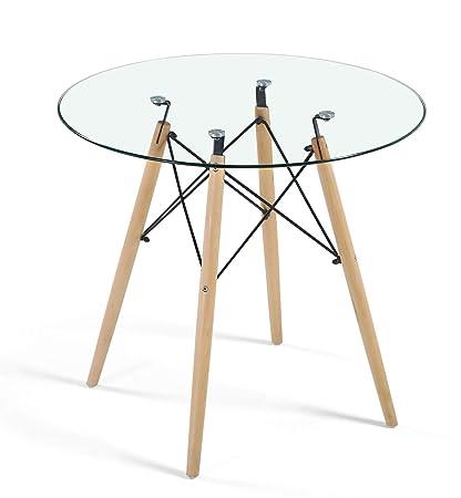 Table De Salle à Manger Moderne Ronde En Verre Transparent