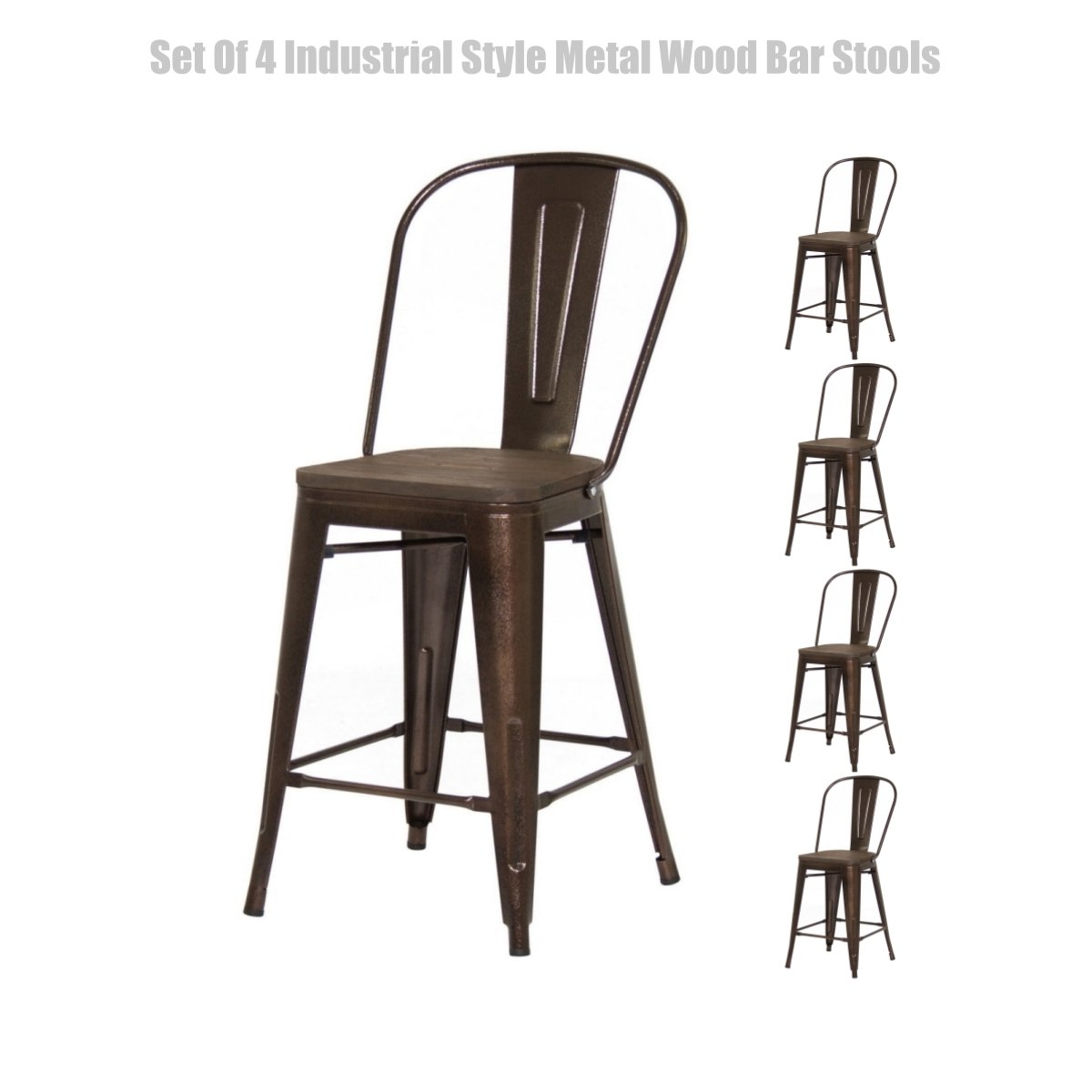 Classic Industrial Style Metal Barstool Solid Steel Construction Comfortable Backrest Scratch Resistant Side Chair Home Office Furniture - Set of 4 Brown 24''H #1447a