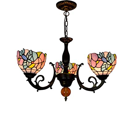 YDYG Lámpara LED Estilo Tiffany 3 Cabezas vitrales Luces de ...