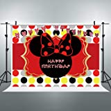 Riyidecor Mouse Backdrop Free Banners Happy Birthday Red Black Girls Celebration Colorful Dots 7x5ft Photography Background Children Decorations Festival Event Props Party Photo Shoot Vinyl Cloth