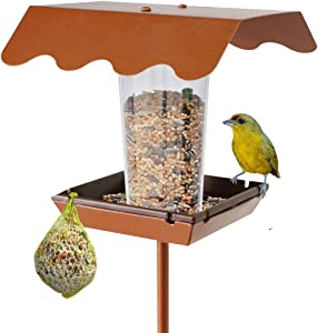 Wild Bird Feeder Stand for Garden Yard Outside Square Stand on Ground, Patio, Poles in Backyard Garden,Gift idea for Parents(Stake Square) Upgrade Version