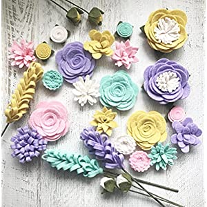 Wool Felt Fabric Flowers – Flower Embellishment – Spring – Large Posies – 28 Flowers & 20 leaves – Create Headbands, DIY Wreaths, Garlands